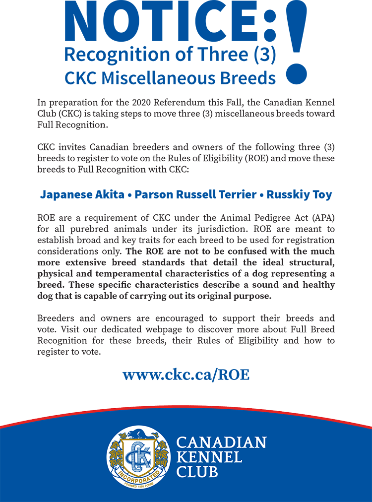 Notice: Recognition of Three CKC Miscellaneous Breeds